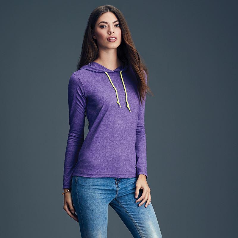 fa333224fa03 Anvil women s fashion basic long sleeve hooded tee. AV182
